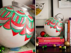 DIY: giant pattern-covered ornament Start with large styrofoam ball, cut out several small circles from colored papers and glue on for a cute ornament to hang in or outside.