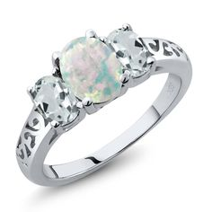 1.91 Ct Oval Cabochon White Simulated Opal Sky Blue Aquamarine 925 Sterling Silver 3-Stone Ring. CRAFTED - in High-Quality Lead Free 925 Sterling Silver that delivers exceptional shine and ultimate protection. MEASUREMENT - Center Stone: 8x6 mm , Small Stones: 6x4 mm, All Ring sizes displayed are in stock. This beautiful design jewelry is unique and elegant,which is suitable for you to wear at any occasion and can be matched with any outfit. Gemstones may have been treated to improve…