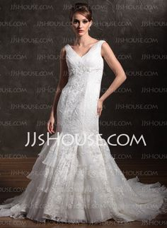 Wedding Dresses - $239.99 - Mermaid Off-the-Shoulder Chapel Train Satin  Tulle Wedding Dresses With Lace  Beadwork (002001280) http://jjshouse.com/Mermaid-Off-the-shoulder-Chapel-Train-Satin--Tulle-Wedding-Dresses-With-Lace--Beadwork-002001280-g1280