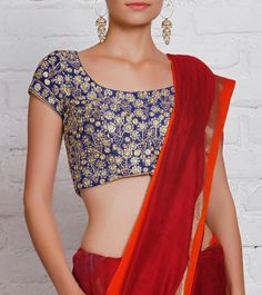 Royal Blue Embroidered #Cotton #SilkBlouse #Indianroots