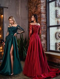 Red Long Sleeve Dress, Prom Dresses Long With Sleeves, Dress Long, Red Prom Dresses, Plus Size Prom Dresses, Red Satin Prom Dress, Long Sleeve Evening Dresses, Evening Gowns, Lace Burgundy Dress