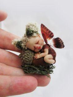"OOAK Miniature Sleeping Baby Fairy ""Minia"" ~ Pixie Sculpture by Michele Roy"