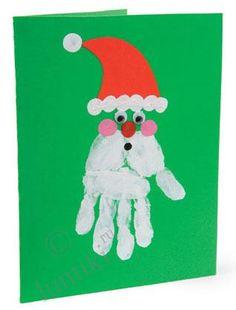 Новогодняя открытка своими руками, Дед Мороз - детская поделка