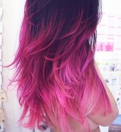 I am SO doing this when my hair starts growing out and fading! Oh! and when I can get extensions again ;) Ombre Pink 18 May 2012 Hair Color Ideas in Dark Brown Hair, Pink Hair ombre hair Just simply beautiful! Pink Ombre Hair, Hair Color Purple, Black Ombre, Pink Black, Pink Color, Ombre Color, Violet Ombre, Pink Dye, Purple Tips
