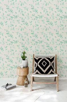 Green leaves temporary wallpaper | Etsy