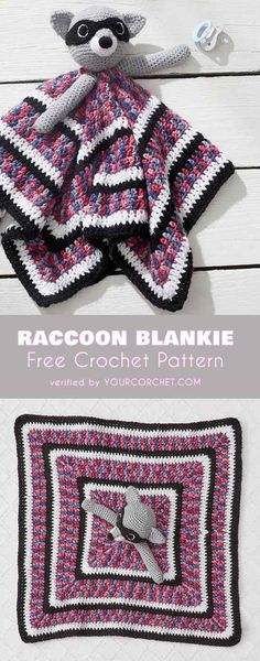 Lovely Raccoon Baby Blankie Blanket Free Crochet Pattern #freecrochetpatterns #crochetblanket #babyshowerfifts #amigurumipattern