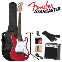 Fender Starcaster Strat Electric Guitar, red by Fender Musical Instruments Corp.. $173.36