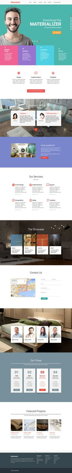 'Materializer' is a HTML landing page template designed within Google's Material Design guidelines. The responsive One Page template comes with 3 header options: Hero image, Slideshow or Video background. Other features include sticky header with smooth scroll within the long page, 200 vector scalable icons, background parallax scrolling effect in some sections, embedded Lightbox gallery and a contact form with validation.
