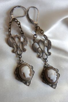 Vintage assemblage earrings genuine cameo earrings by frenchfeatherdesigns