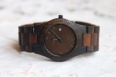 Wooden Watch For Women or Men Ebony Wood Date Thin Watch Wrist Bracelet Quartz Vintage Watch With Calendar Round Dial Gift Waterproof Black