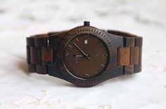 Wooden Watch For Women or Men Ebony Wood Date Thin by DOWOODwatch