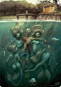 """▲CRIMEWAVE - Portrait title is """"Piranha Mermaids"""" artist unknown..."""