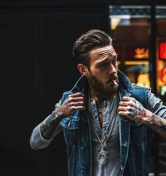 Billy Huxley - beard mustache bearded man men mens' style fashion clothing denim tattoos tattooed barber hair #beardsforever