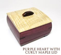Ring Box made in purple heart with curly maple lid by Mikutowski Wood. American Made. See the designer's work at the 2015 American Made Show, Washington DC. January 16-19, 2015. americanmadeshow.com #woodwork, #ringbox, #wood, #curlymaple, #purpleheart, #americanmade
