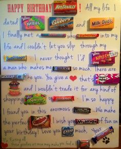 Jumbo Candy Card - placed on a foam board, typed up the letters and searched for the candy at local stores Diy Jumbo Birthday Card, Candy Birthday Cards, Birthday Fun, Birthday Ideas, Candy Bar Cards, Card Candy, Candy Grams, Local Stores, Dance Company