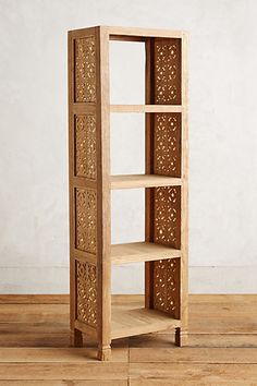 Living Room: Handcarved Fretwork Narrow Bookcase #anthropologie