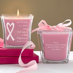 Mother's Day Gifts - Personalized Breast Cancer Awareness Candles - Courage & Strength