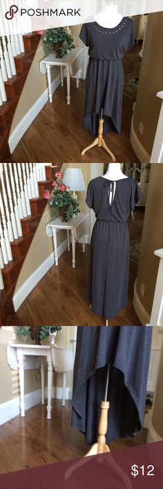 Grey High - Low Maxi Dress Dark Grey high - low maxi dress, with gold stud design. Like new! Delicious  Dresses High Low