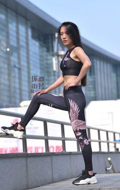 微博 Asian Woman, Asian Girl, Asian Ladies, Gym Pants, Yoga Pants, Girls In Leggings, Tights, Sporty, Spandex