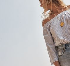 madewell clean off-the-shoulder top worn with the perfect summer jean.
