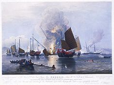 Qing dynasty - British steamship destroying chinese war junks E.Duncan 1843