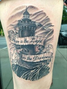 Lighthouse tattoo by Jeff Harp Inksomnia Atlanta
