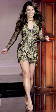 Glee star Lea Michele appeared on last night's Jay Leno show in a stunning Emilio Pucci dress - and revealed how school bullies made her change her surname. Lea Michele, Divas, Great Legs, Nice Legs, Beautiful Legs, Beautiful People, Beautiful Voice, Beautiful Women, Night Looks
