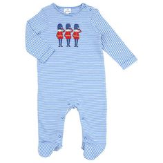 BuyJohn Lewis Baby Layette Stripe Soldier Sleepsuit, Blue, Tiny baby Online at johnlewis.com