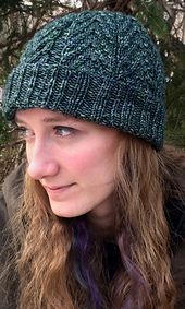 "The third in my set of 3 cabled hats in Tosh Vintage - made from December 2016 through January 2017. Knit in the round - bottom up, with deep brims which can be folded up, or not (for a slouch). The pattern is written and also charted, as are all patterns in the ""Vintage Cables"" ebook. I fussed for quite awhile to get the trees just right on this one. And of course, there are two stag horn cables to represent the deer in the forest."
