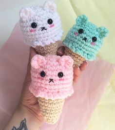 What better way to express your love of ice cream and bears than with a tiny ice cream bear! These little guys come in 4 flavors - Mint, Neapolitan, Strawberry, and Vanilla! You can use the drop down menu to select your favorite flavor. From their ears to their yummy cones, these bears are too cute to eat! They make the perfect gift for your favorite ice cream addict or collector of cute things.  ♥Each bear is made with super soft yarn and stuffed with hypoallergenic fiberfill. I always use…