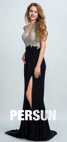 Robe de soirée noire fendue moulante encolure plongeant haut parsemé de strass ecquis Sexy Evening Dress, Evening Dresses, Prom Dresses, Formal Dresses, Backless, V Neck, Chiffon Dress, Fashion, Trumpet