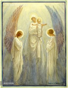 Thou visitest the Earth' - The virgin Mary holds up the baby jesus before two angels. Christmas card