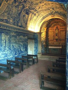 Chapel in Setubal, Portugal. Beautiful blue tiles.