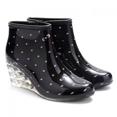 Stylish Wedge and Print Design Women's Rain Boots, BLACK, 40 in Boots | DressLily.com