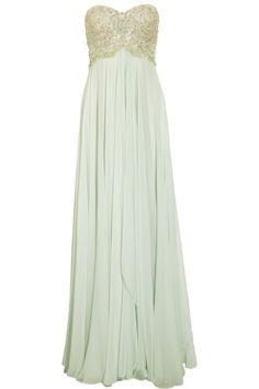 Marchesa Beaded Silk Chiffon Gown in Green   Lyst