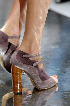 #Roksanda Ilincic | Suede, leather, and wood why can't they make shoes this pretty with shorter heels??