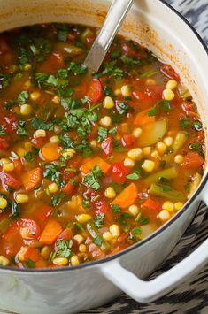 Mexican Vegetable Soup - it's like a classic vegetable or minestrone soup with Mexican veggies and a hint of Mexican flavor. Cozy and refreshing!