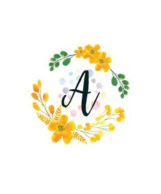 Monogram A Happy Yellow Flowers by floralmonogram Floral Letters, Monogram Letters, Funny Phone Wallpaper, Kawaii Wallpaper, Stylish Alphabets, Alphabet Wallpaper, Letter Art, Pattern Wallpaper, Yellow Flowers