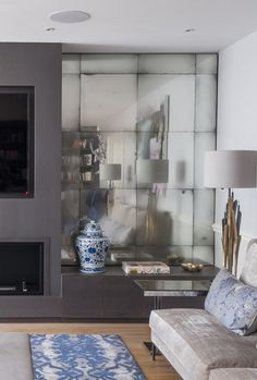 Rupert Bevan - Antiqued Mirror Glass - Antiqued Mirror Alcoves to FireplaceWall
