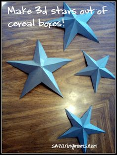 3D stars out of cereal boxes