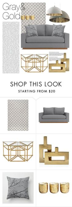 Living Room - Gray ft Gold by by-jwp on Polyvore featuring interior, interiors, interior design, home, home decor, interior decorating, Bellini, Safavieh, Illume and Oris