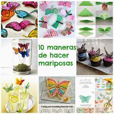 10 maneras de hacer mariposas - Manzanaterapia Butterfly Cakes, Ideas Para, Deco, Cards, Bijoux, Paper Butterflies, Throw Pillows, Activities, Paper Envelopes