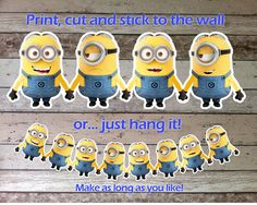 INSTANT DOWNLOAD Despicable Me Minions Bunting, Garland, Banner, Wall Sticker, Decal, Decoration, Digital Pdf File for Minions Party Theme