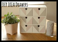 IKEA drawers upcycled for make up storage. Scandinavian, pastel style.