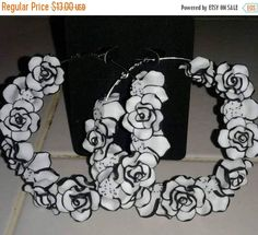 Hey, I found this really awesome Etsy listing at https://www.etsy.com/listing/519953139/black-and-white-flower-hoop-earrings