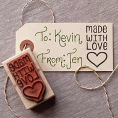 made with love rubber stamp, heart hand lettered packaging stamper