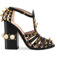 Gucci Leather Studded Sandal featuring polyvore, women's fashion, shoes, sandals, heels, women, studded shoes, flower sandals, leather sandals, black heeled shoes and black studded sandals