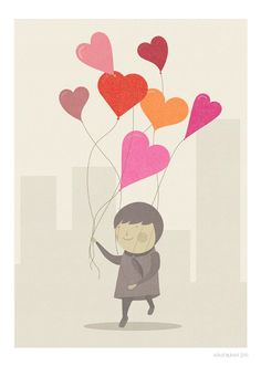 The Love Balloons Print Different Sizes por JudyKaufmann en Etsy
