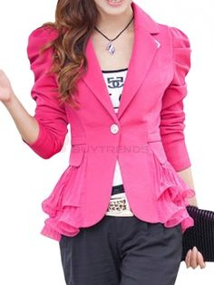 Trendy Leisure Long Sleeve Tie Waist Single Button Pure Color Pleated Bottom Blazer on buytrends.com