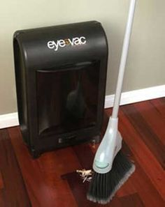 SHUT THE FRONT DOOR. I must have this! EYE VAC: a stationary vacuum that picks up dirt, dust, and hair instantly. Just sweep debris into the path of its always-on infrared sensors, and the Eye-Vac will vacuum it away instantly, turning off automatically when finished.